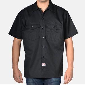 NWT BEN DAVIS Short Sleeve Solid Button-Up – Black
